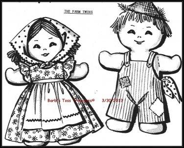VIntage *THE FARM TWINS* Stuffed Doll Pattern