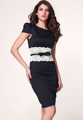 Vintage style pencil dress with lace waist