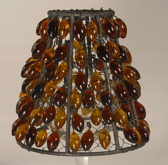 "4"" Amber Bead Clip on Chandelier Lamp Shade"