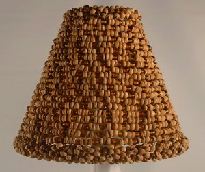 """4.5"""" Wood & Amber Bead Clip On Chandelier Lamp Shade"""
