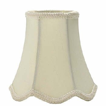 "5"" Cream Silk - Bell Chandelier Shade w/ Scalloped Edge"