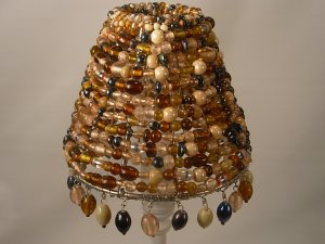 "4"" Multi Color Beaded -Clip on - Chandelier Lamp Shade"