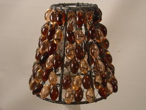 """4"""" Amber & Peach Bead - Clip on Chandelier Lamp Shade"""