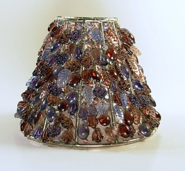 5 purple leaf clip on chandelier lamp shade with hand for Beaded chandelier lamp shades