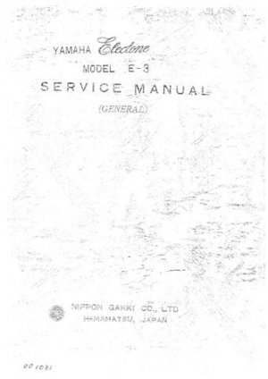 Yamaha E30 E-30 Service Manual