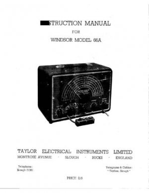 Taylor 66A Instructions with Schematics etc