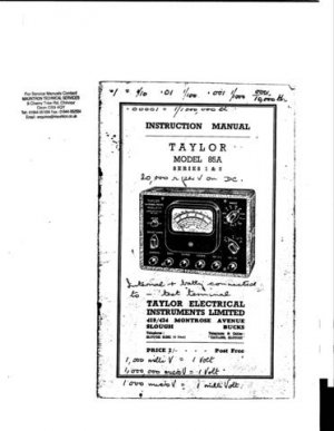 Taylor 85A Series 1 Instructions with Schematics etc
