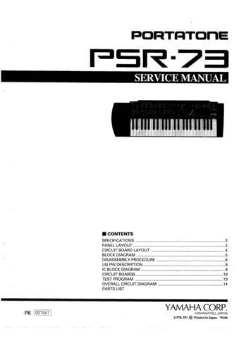 Service Manual For Yamaha Psr E