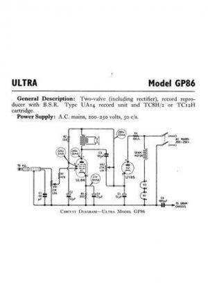 Ultra GP86 GP-86 RP Repair Schematics etc