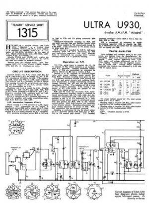 Ultra U940A U-940A Vintage Wireless Repair Schematics etc