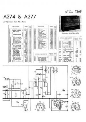 Ekco A277 A-277Technical Repair Schematics etc