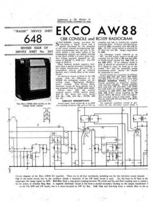Ekco AW88 AW-88Technical Repair Schematics etc