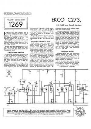 Ekco C273 C-273Technical Repair Schematics etc
