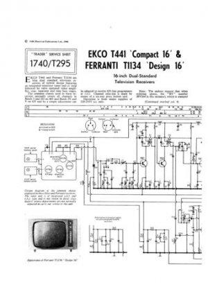 Ekco T441 T-441 Vintage TVTechnical Repair Schematics etc