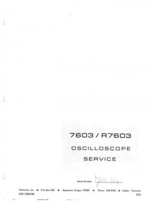 Tektronix 7603 Service Manual