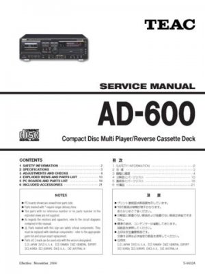 Teac AD600 AD-600 Service Manual