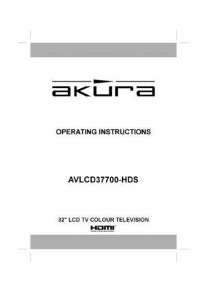 Akura AVLCD37700 HDSookl Television Operating Guide
