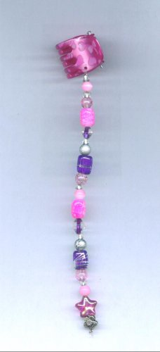 Pink and purple hand beaded hair clip