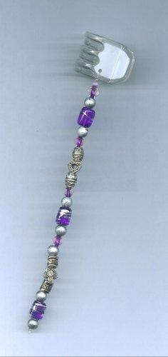 Purple hand beaded hair clip