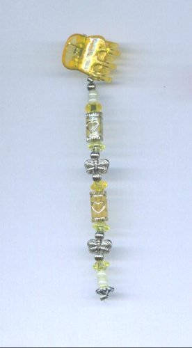 Yellow and silver Hand beaded baby size hair clip