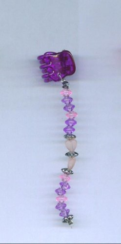Purple and pink frosted hearts hand beaded baby size hair clips