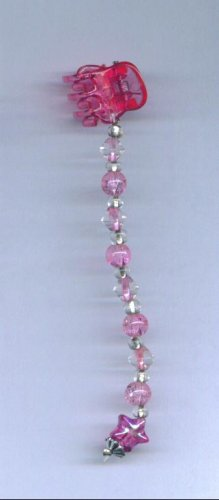Pink hand beaded baby size hair clips