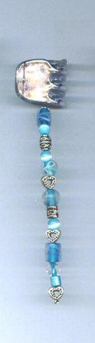 Blue hand beaded hair clip