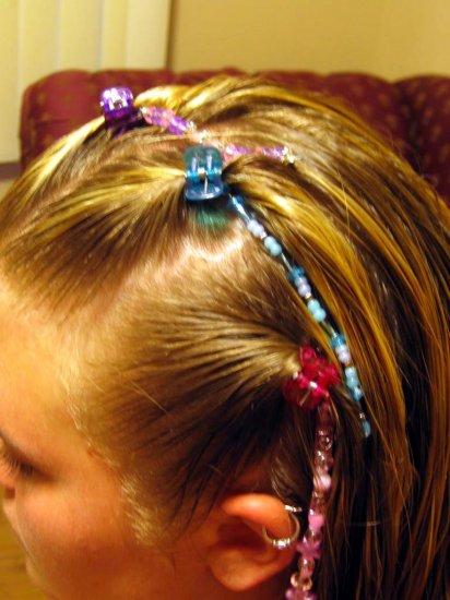 Pink hand beaded hair clip