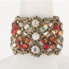 Handmade Beaded Manchette Ring (Red)