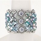 Handmade Beaded Manchette Ring (Blue)