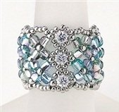 Handmade Beaded Manchette Ring (Blue)