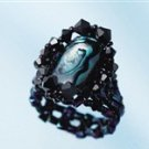 Handmade Beaded Paua Shell Deep Ring