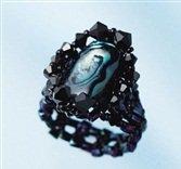 Handmade Beaded Paua Shell Deep Ring