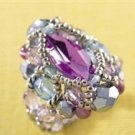 Handmade Beaded Courtly Ring (Amethyst)