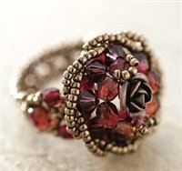 Handmade Beaded Rote Rose Ring