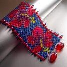Handmade Beaded CRISP HIBISCUS Bracelet