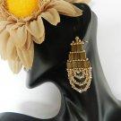 Handmade Beaded Crystal Chandelier Earrings (Purple Or Gold)