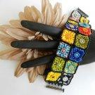 1- Set Handmade Beaded G-MA Squares Bracelet and Earrings