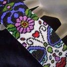 Handmade Beaded Sugar Skull 3- Peyote Bracelet Cuff