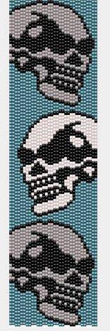 Handmade Skull Men 2 Peyote Bracelet Cuff