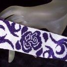 Handmade Midnight Rose Peyote Bracelet Cuff