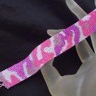 Handmade Beaded Pink Camouflage Peyote Bracelet Cuff