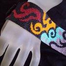Handmade Beaded Flames Peyote Bracelet Cuff