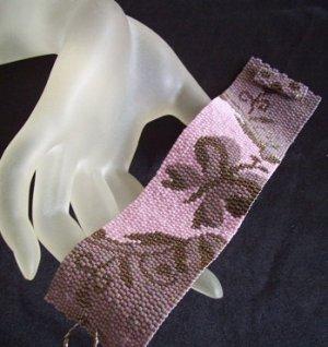 Handmade Victorian Butterfly Peyote Bracelet Cuff