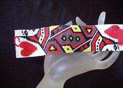 Handmade Beaded Queen of Hearts Peyote Bracelet Cuff