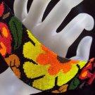 Handmade Beaded Jungle Flower Peyote Bracelet Cuff