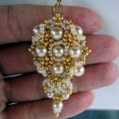 Handmade Beaded Gold and Ivory Combo Earrings