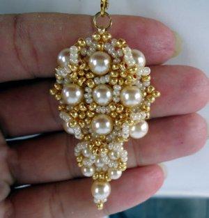Handmade Beaded Gold and Ivory Combo Earrings