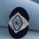 Handmade Beaded Silver Blue Ring