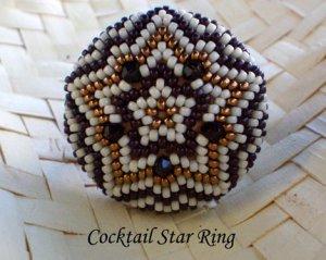Handmade Beaded Cocktail Star Ring
